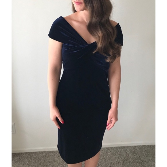 Zara Dresses & Skirts - Navy Velvet Zara Semi Formal Dress